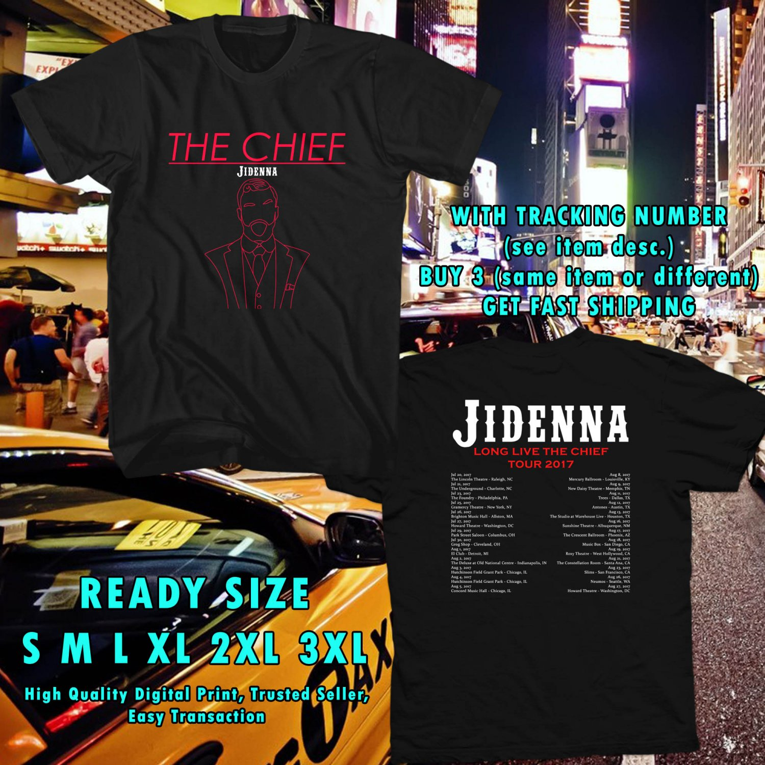 HITS JIDENNA LONG LIVE THE CHIEF TOUR 2017 BLACK TEE'S 2SIDE ASTR 221