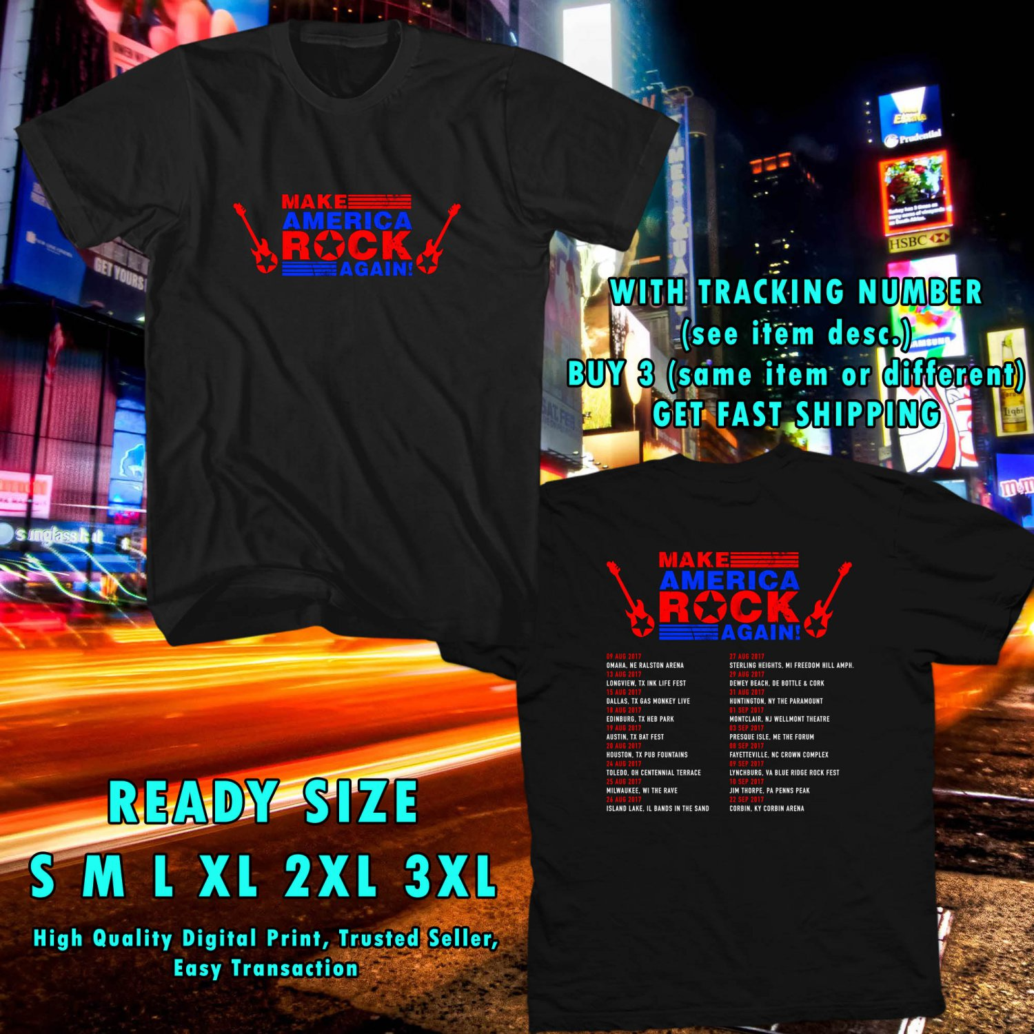 HITS MAKE AMERICA ROCK AGAIN TOUR 2017 BLACK TEE'S 2SIDE ASTR 887