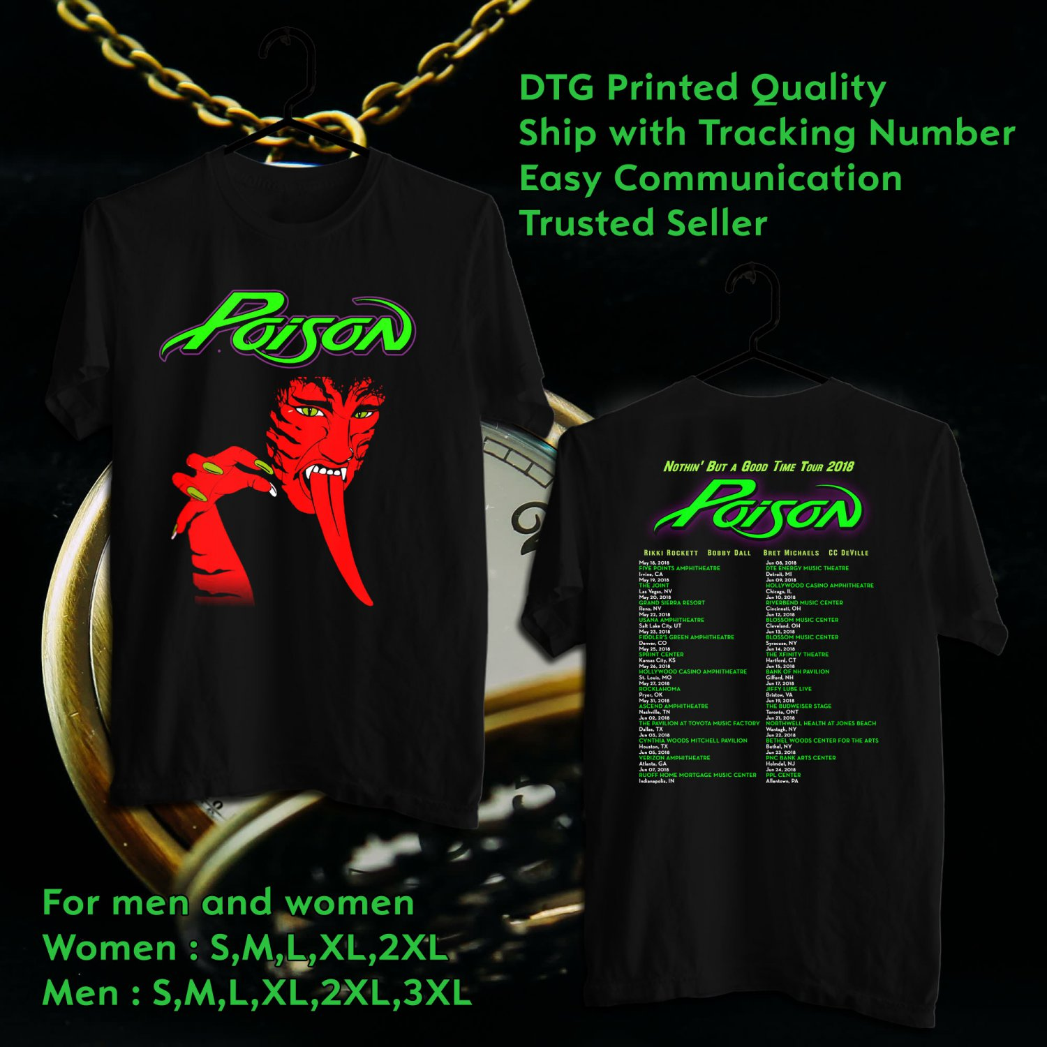 94ac1756afcff HITS POISON NOTHIN  BUT A GOOD TIME TOUR 2018 BLACK TEE S 2SIDE MAN WOMEN  ASTR