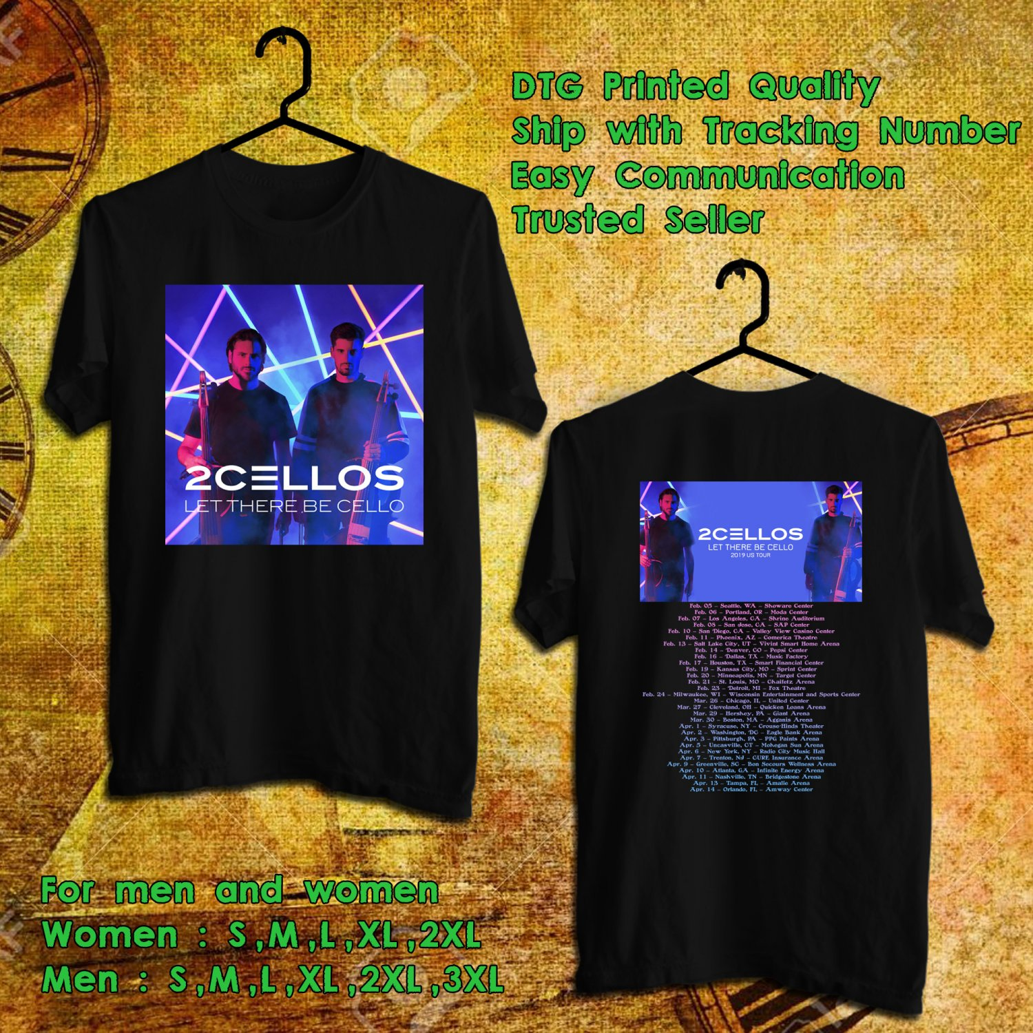 5c736df81969b HITS 2CELLOS LET THERE BE CELLO TOUR 2019 BLACK TEE S 2SIDE MAN ...