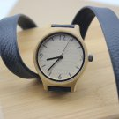 Bamboo wooden watch with a LONG genuine cowhide leather band