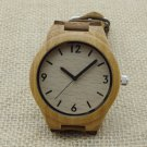 Bamboo wooden watch with a genuine leather strap