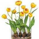 Tulips w/Rectangle Vase Silk Flower Arrangement - Yellow