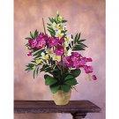 Double Phal/Dendrobium Silk Orchid Arrangement (Orchid Cream)