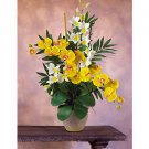 Double Phal/Dendrobium Silk Orchid Arrangement (Yellow Cream)