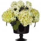 Hydrangea with Black Vase