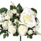 "11"" Small Rose/Stephanotis/ Pearl Hyacinth Bouquet w/Pearl Accents Cream"
