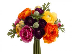 "9"" Ranunculus Bouquet Purple Orange"