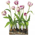 Tulips w/Rectangle Vase Silk Flower Arrangement - Raspberry