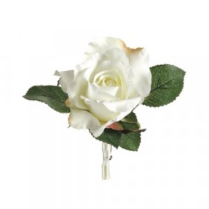"""6.5"""" Rose Boutonniere White, 24 each"""