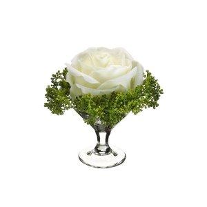 "4"" Rose/Skimmia In Glass Vase -  wedding centerpieces"