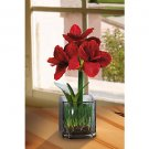 Amaryllis Silk Flower Arrangement w/Glass Vase (red)