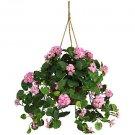 Geranium Silk Hanging Basket (Pink)