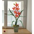 Cymbidium Silk Orchid Flower Arrangement - Scarlet