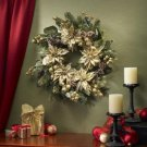 "24"" Golden Poinsettia Wreath"