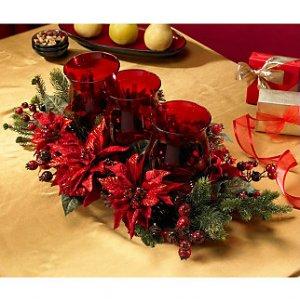 Poinsettia & Berry Triple Candelabrum