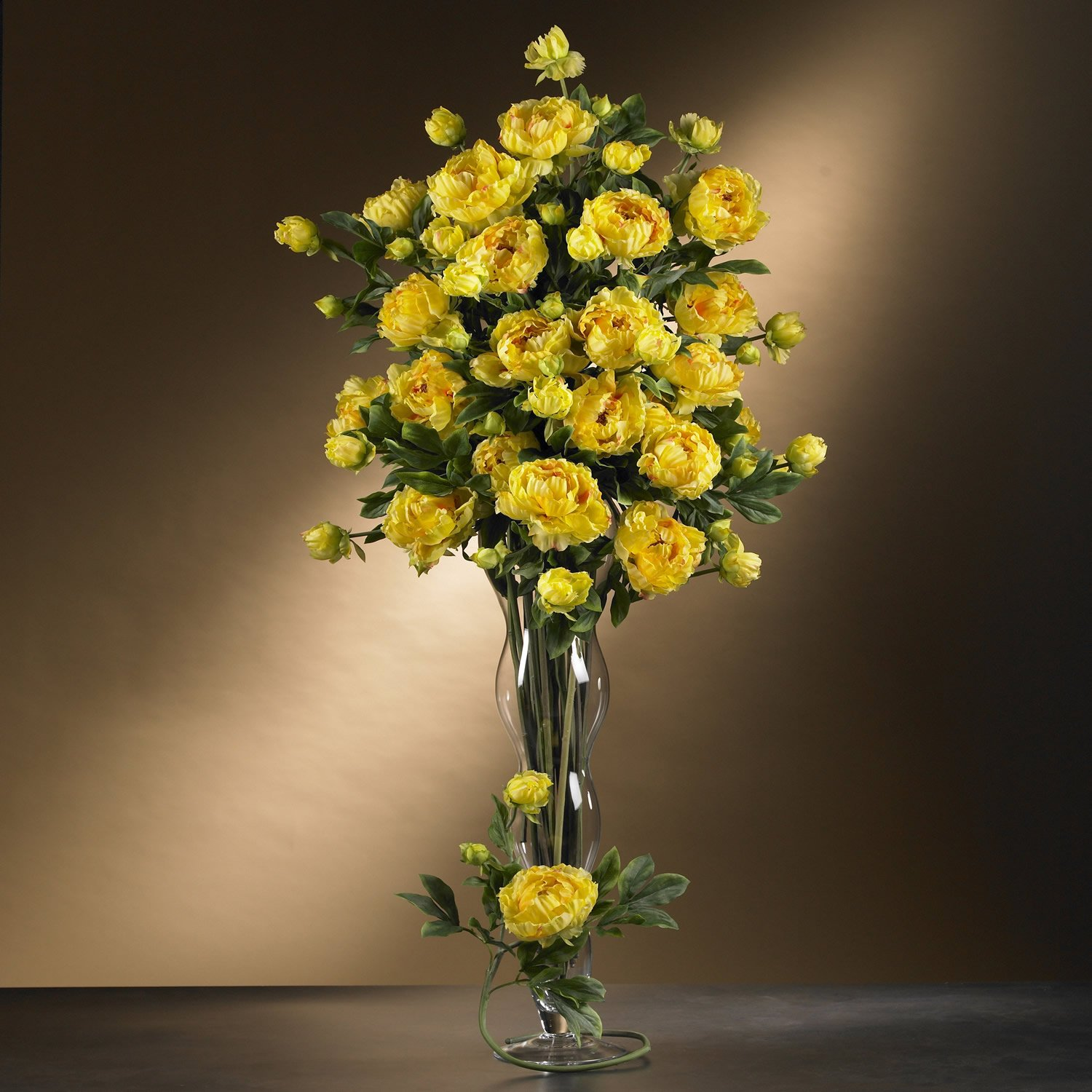 "38.5"" Peony w/Leaves Stem  - Yellow"