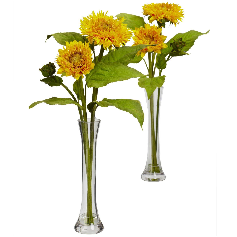 Golden Sunflower w/Bud Vase (Set of 2)