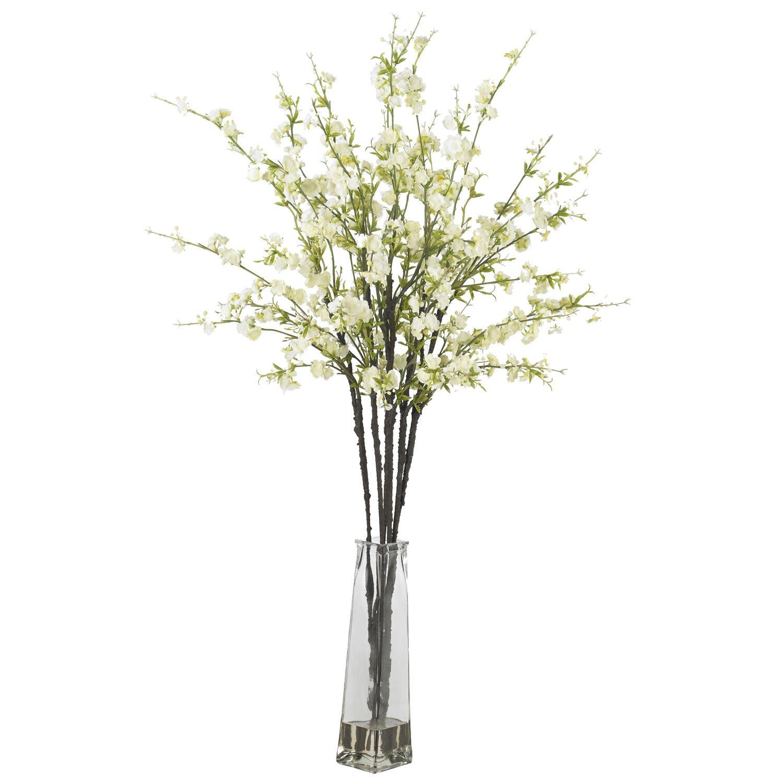 Cherry Blossoms w/Vase Silk Flower Arrangement - White
