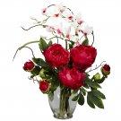 Peony & Orchid Silk Flower Arrangement - Red