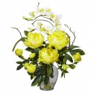 Peony & Orchid Silk Flower Arrangement - Yellow