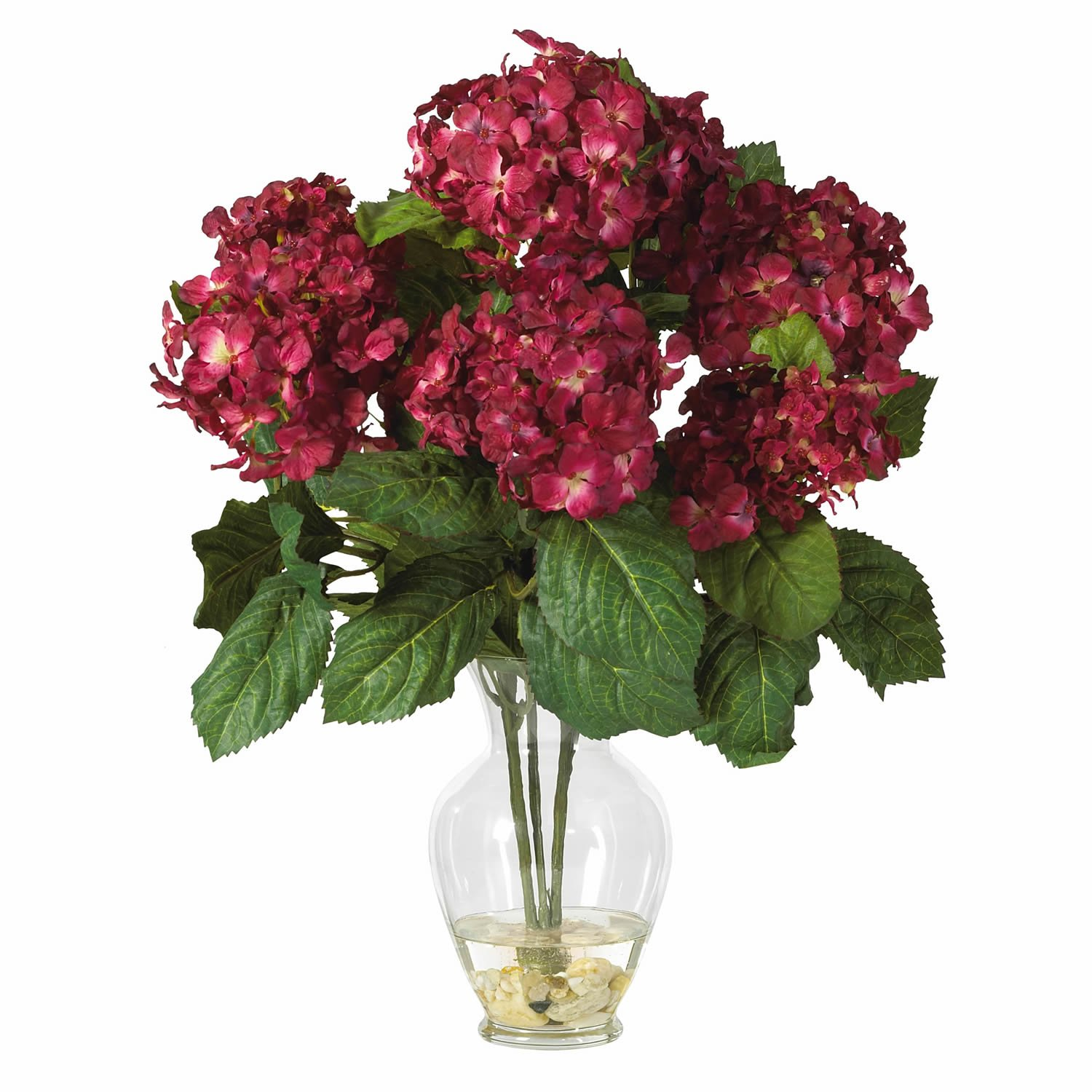 Hydrangea Liquid Illusion Silk Arrangement - Bugundy