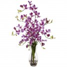 Dendrobium w/Vase Silk Flower Arrangement (Purple)