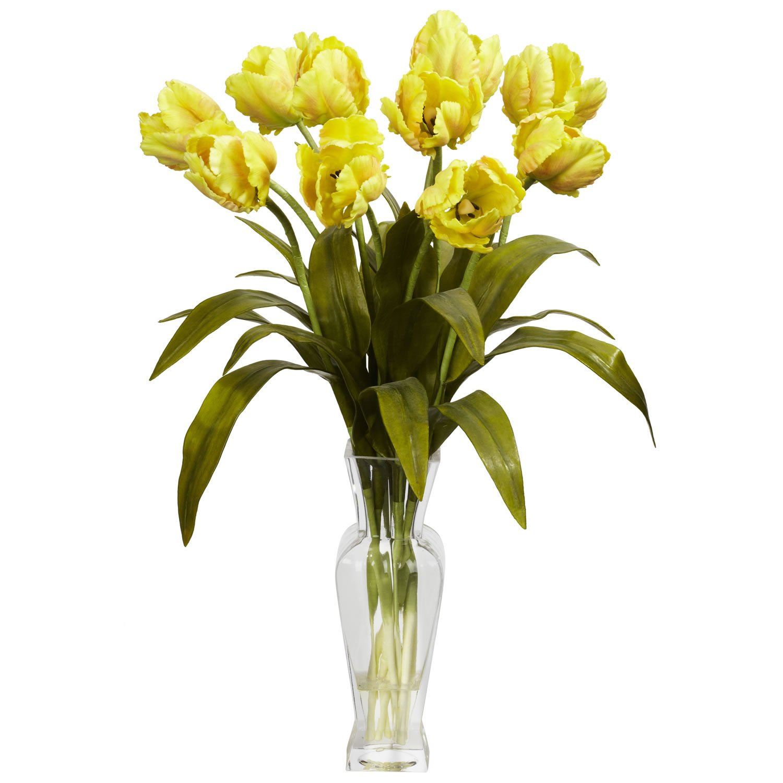 Tulips W Vase Silk Flower Arrangement Yellow