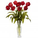 Tulips w/Vase Silk Flower Arrangement (Red)