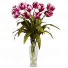 Tulips w/Vase Silk Flower Arrangement (Raspberry)