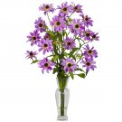 Cosmos w/Vase Silk Flower Arrangement (Purple)