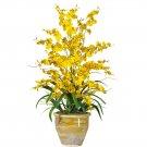 Triple Dancing Lady Silk Flower Arrangement (Yellow)