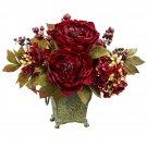 Peony & Hydrangea Silk Flower Arrangement