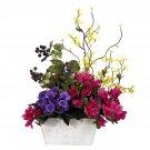 Mixed Floral w/Azalea & White Wash Planter Silk Arrangement