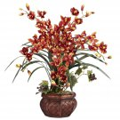 Cymbidium w/Decorative Vase Silk Arrangement - Burgundy