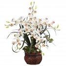 Cymbidium w/Decorative Vase Silk Arrangement - White