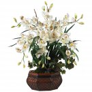 Large Cymbidium Silk Flower Arrangement - White
