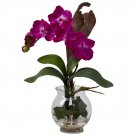 Mini Vanda w/Fluted Vase Silk Flower Arrangement - Beauty