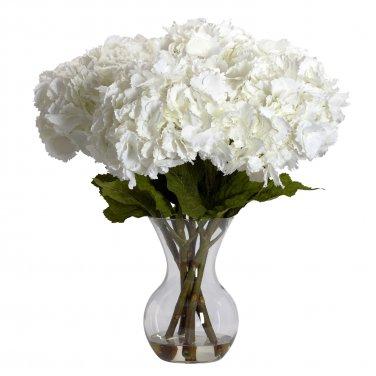 Large Hydrangea w/Vase Silk Flower Arrangement