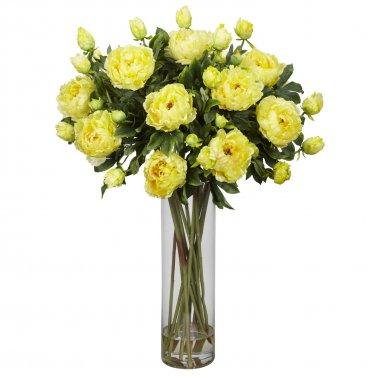 Giant Peony w/Cylinder Silk Flower Arrangement (Yellow)