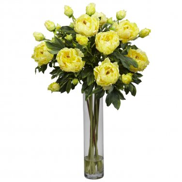Peony w/Cylinder Silk Flower Arrangement (Yellow)