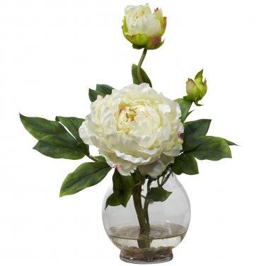 Peony w/Fluted Vase Silk Flower Arrangement - White