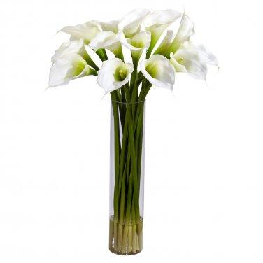 Calla Lilly w/Cylinder Silk Flower Arrangement