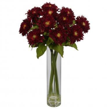 Sunflower w/Cylinder Silk Flower Arrangement -Red