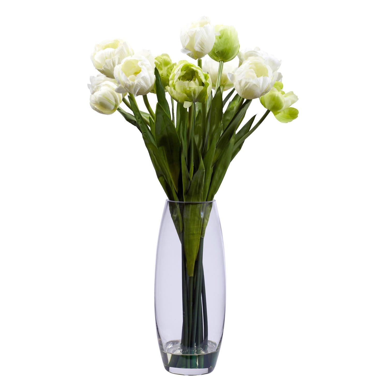Tulip With Vase Silk Flower Arrangement