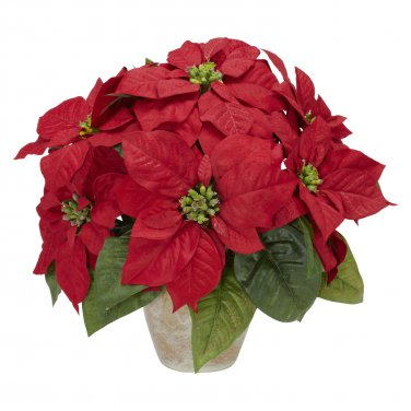 Poinsettia w/Ceramic Vase Silk Flower Arrangement - Item Number: 1268