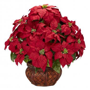 Poinsettia w/Decorative Planter Silk arrangement - Item Number: 1265