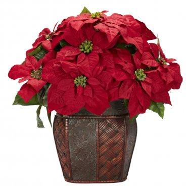Poinsettia w/Decorative Vase Silk Arrangement - Item Number: 1264