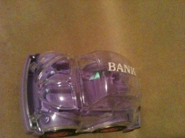 VW Bug Beatle Car Piggy Piggie Bank Coin Collectible Clear Plastic Toy Moving