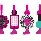 Pink Zebra Boutique Birthday Party Blowouts, 8 Favors Per Package B10-PZ